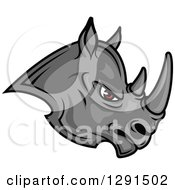 Clipart Of A Fierce Gray Rhino With Red Eyes Facing Right Royalty Free Vector Illustration