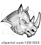 Clipart Of A Fierce Gray Rhinoceros With Red Eyes Facing Right Royalty Free Vector Illustration by Seamartini Graphics