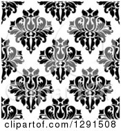 Seamless Pattern Background Of Black And White Floral Damask 4