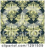 Seamless Pattern Background Of Vintage Green Floral Damask