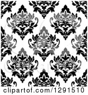 Seamless Pattern Background Of Black And White Floral Damask 5