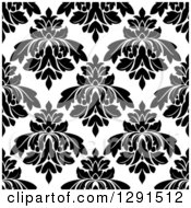 Seamless Pattern Background Of Black And White Floral Damask 6