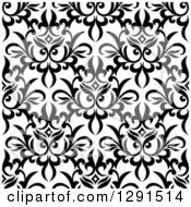 Seamless Pattern Background Of Black And White Floral Damask 3