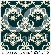 Seamless Pattern Background Of Vintage Pastel Floral Damask On Dark Green