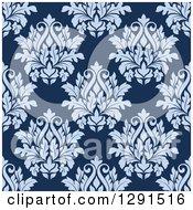Seamless Pattern Background Of Vintage Purple Floral Damask On Blue