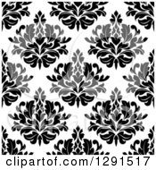 Seamless Pattern Background Of Black And White Floral Damask 2