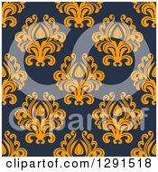 Seamless Pattern Background Of Vintage Orange Floral Damask On Navy Blue