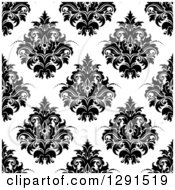 Seamless Pattern Background Of Black And White Floral Damask