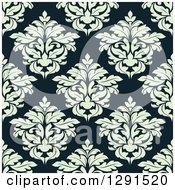 Seamless Pattern Background Of Vintage Mint Green Floral Damask
