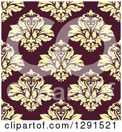 Clipart Of A Seamless Pattern Background Of Vintage Floral Damask Royalty Free Vector Illustration by Vector Tradition SM