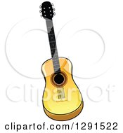 Clipart Of A Light Acoustic Guitar 2 Royalty Free Vector Illustration