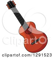 Clipart Of A Dark Acoustic Guitar Royalty Free Vector Illustration