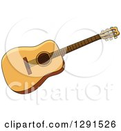 Clipart Of A Light Acoustic Guitar Royalty Free Vector Illustration