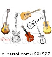 Clipart Of Electric And Acoustic Guitars Royalty Free Vector Illustration