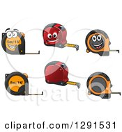 Clipart Of Measuring Tapes And Characters Royalty Free Vector Illustration
