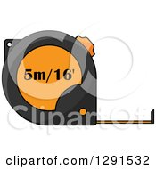 Clipart Of A Black And Orange Measuring Tape 2 Royalty Free Vector Illustration