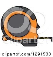 Clipart Of A Black And Orange Measuring Tape Royalty Free Vector Illustration