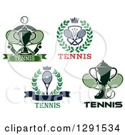 Clipart Of Tennis Wreaths Shields And Trophies Royalty Free Vector Illustration