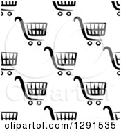 Clipart Of A Seamless Pattern Background Of Black And White Shopping Carts 2 Royalty Free Vector Illustration by Vector Tradition SM
