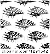 Clipart Of A Seamless Background Pattern Of Black And White Checkered Racing Flags Royalty Free Vector Illustration
