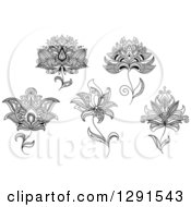 Clipart Of Black And White Henna Lotus And Flower Designs Royalty Free Vector Illustration