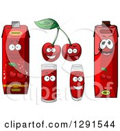 Clipart Of Cherries And Juice Cups And Cartons Royalty Free Vector Illustration