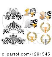 Clipart Of Motorsports Racing Checkered Flags And Trophies Royalty Free Vector Illustration