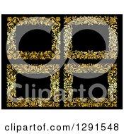 Clipart Of Gold Ornate Floral Frames Over Black 2 Royalty Free Vector Illustration