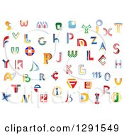 Clipart Of Colorful Abstract Alphabet Letters 5 Royalty Free Vector Illustration