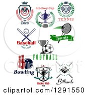 Clipart Of Dart Hockey Tennis Baseball Soccer Bowling And Billiards Sports Designs Royalty Free Vector Illustration
