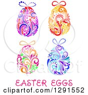 Clipart Of Colorful Floral Easter Eggs And Text Royalty Free Vector Illustration