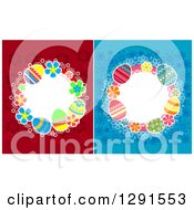Clipart Of Circle Frames Of Easter Eggs On Red And Blue Flowers Royalty Free Vector Illustration