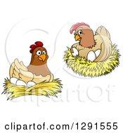 Clipart Of Cartoon Hen Chickens Nesting Royalty Free Vector Illustration