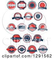 Retro Red White And Blue Quality Labels With Sample Text
