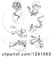 Clipart Of A Grayscale Flowing Music Note Wave Designs 3 Royalty Free Vector Illustration