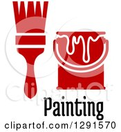 Clipart Of A Red Paint Brush And Can Icon Over Painting Text Royalty Free Vector Illustration