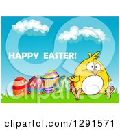 Clipart Of A Cartoon Chubby Yellow Chick Sitting With Eggs On A Hill Under Happy Easter Text Royalty Free Vector Illustration
