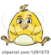 Clipart Of A Cartoon Chubby Yellow Chick Sitting Royalty Free Vector Illustration