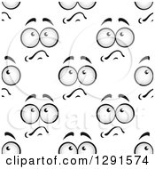 Clipart Of A Seamless Background Pattern Of Grayscale Worried Faces Royalty Free Vector Illustration