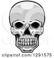 Clipart Of A Grayscale Human Skull Royalty Free Vector Illustration by Seamartini Graphics