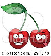 Clipart Of Happy And Goofy Cherries Royalty Free Vector Illustration