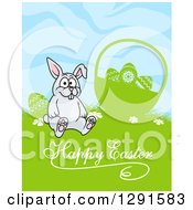 Clipart Of A Cartoon Gray Rabbit Sitting By A Silhouetted Easter Basket Over Text Royalty Free Vector Illustration
