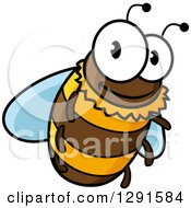 Clipart Of A Cartoon Happy Bee Flying Royalty Free Vector Illustration
