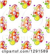 Seamless Background Pattern Of Floral And Striped Number Six Digits And Green Apples