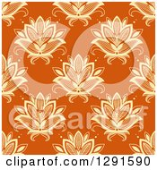 Clipart Of A Seamless Pattern Background Of Yellow Lotus Henna Flowers On Orange Royalty Free Vector Illustration
