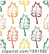 Clipart Of A Seamless Pattern Background Of Colorful Leaves Royalty Free Vector Illustration