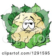 Clipart Of A Happy Cauliflower Character Royalty Free Vector Illustration