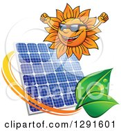 Clipart Of A Cheering Sun Wearing Shades And Solar Panel Encircled With A Swoosh And Green Leaves Royalty Free Vector Illustration