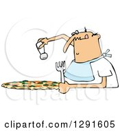 Clipart Of A Chubby Bald Caucasian Man Salting A Pizza Royalty Free Vector Illustration