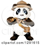 Clipart Of A Cute Explorer Expedition Panda Holding Binoculars Royalty Free Vector Illustration